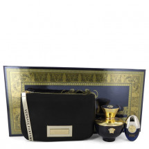 Gift Set -- 100 ml Eau De Parfum Spray + 9 ml Mini EDP Spray in Versace Black & Gold Pouch