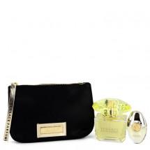Gift Set -- 90 ml Eau De Toilette Spray + 9 ml  Mini EDP Spray  In Versace Black Pouch