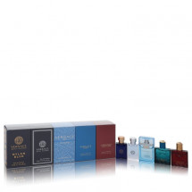 Gift Set -- 5 ml Mini EDT Spray in Versace Pour Homme Dylan Blue + 5 ml Mini EDT Spray in Versace Pour Homme + 5 ml Mini EDT Spray in Versace Man Eau Fraiche + 5 ml Mini EDT Spray in Versace Eros + 5 ml Mini EDP Spray in Versace Eros Flame